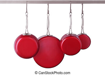 Skillets and pans - Red, modern skillets and pans on white ...