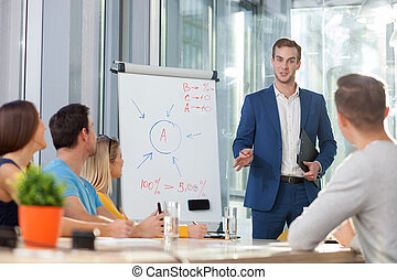 Skillful male worker is making a presentation