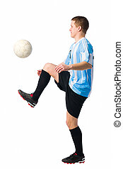 Skillful player - Soccer player control a ball, white...