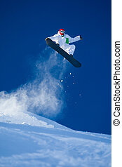 Skillful snowboarder - Photo of brave sportsman jumping on...