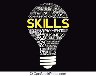 Skills bulb word cloud, business concept background