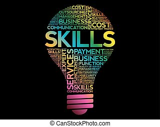 Skills bulb word cloud collage, business concept background