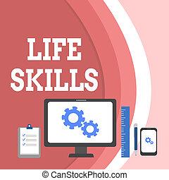 skills., concept, texte, pc, entiers, écriture, business, moniteur, photo, projection, conceptuel, appareil, participation, nécessaire, main, vie jours, presse-papiers, ruler., mobile, compétence