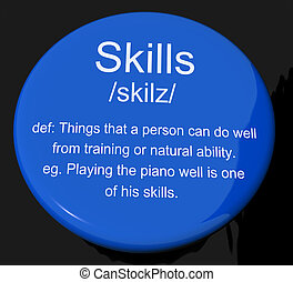 Skills Definition Button Showing Aptitude Ability And ...