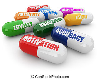 Skills for success. Pills with a list of positive qualities for employment. 3d