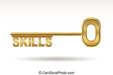 Skills golden key Skills golden key on white drawings