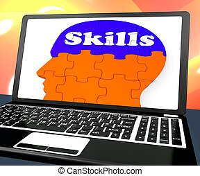 Skills On Brain On Laptop Showing Human Abilities