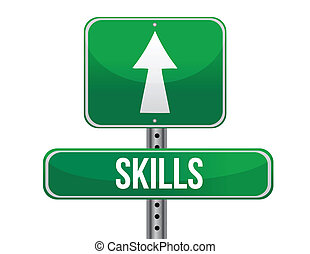 skills road sign illustration design