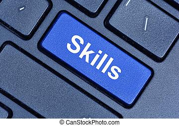Skills word on computer keyboard