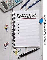 Skills word on paper