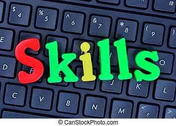 Skills words on computer keyboard