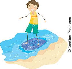 Skimboard Guy - Illustration of a Guy on a Skimboard