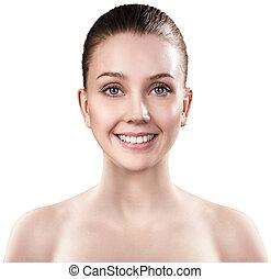 skin., 女性, 若い, きれいにしなさい, 顔