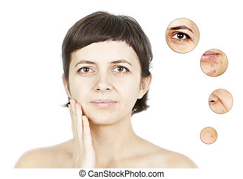 Skin beauty concept  -Closeup on women's isolated face
