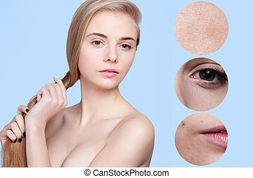 Skin beauty young woman before and after the procedure