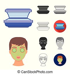 Skin care cartoon, black, flat, monochrome, outline icons in set collection for design. Face and body vector symbol stock web illustration.