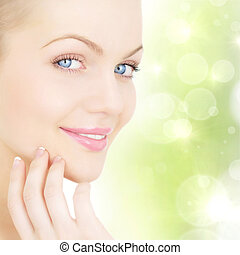 Skin care. Closeup portrait of beautiful young women