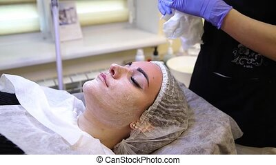 Removal, cleansing the face skin from make-up and preparation for spa procedures.