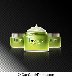 Skin Care Cosmetic - Beauty cosmetic product green cream ads...