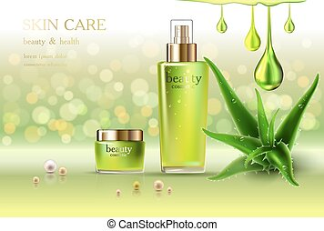 Skin Care Cosmetic - Beauty cosmetic product poster, aloe...