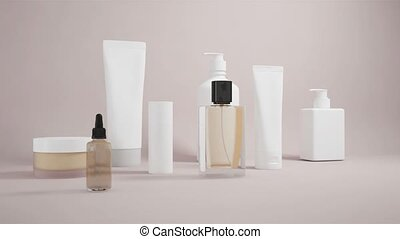 Cosmetic products mockup. Glass bottle with pipette and Perfume bottle. Cosmetic hygiene 3d. Serum branding makeup skin product. Collagen template.