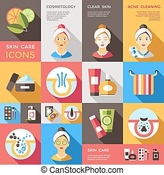 Skin Care Decorative Icons Set