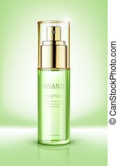 Skin care essence contained in glass bottle. Vector ...