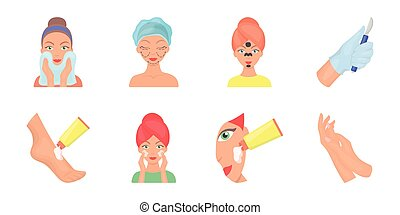 Skin care icons in set collection for design. Face and body vector symbol stock web illustration.