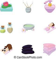 Skin care icons set, cartoon style