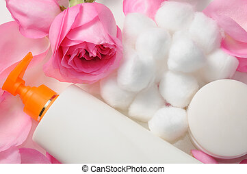Skin care products - Blank skin care lotion with rose petals...