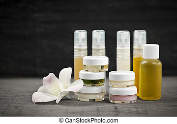 Skin care products - Various jars and bottles of skin care ...