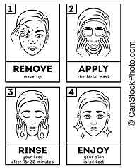 Skin care vector infographic. Girl with skin problem shows...