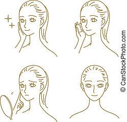 Skin care, woman - skin care, woman, vector file