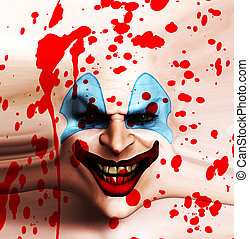 Skin Face Clown - A sinister clown face covered in blood.