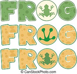 Skin Frog Text. Collection Set