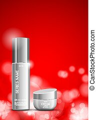 Skin moisturizer cosmetic ads template with gray realistic...