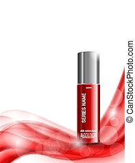 Skin moisturizer cosmetic ads template with red realistic...