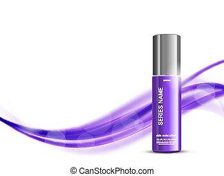 Skin moisturizer cosmetic design template with purple...