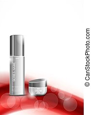 Skin moisturizer cosmetic design template with gray...