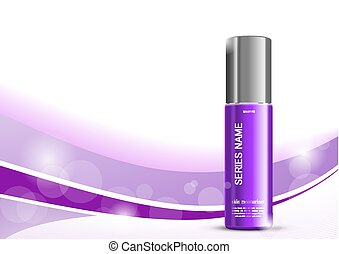 Skin moisturizer cosmetic design template with purple...