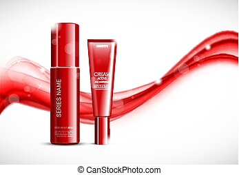Skin moisturizer cosmetic design template with red realistic...