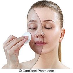 skin., mulher, tratamento, após, antes de