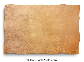 skin parchment - clipping path - goat skin parchment, blank ...