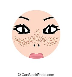 skin., pigmentation, tache, illustration, face., taches ...