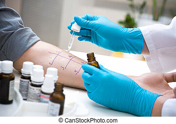 Skin prick allergy test - Skin prick allergy to find out...