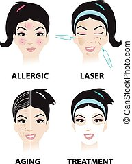 Skin problem and skin care vector
