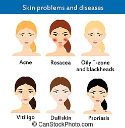 Skin problems and diseases. Acne, rosacea, vititligo and...