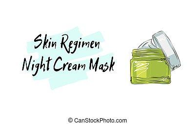 Skin Regimen night cream mask, sketch of cosmetics