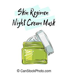 Skin Regimen night cream mask, sketch of cosmetics