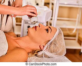 Skin resurfacing procedure facial procedure on ultrasound...
